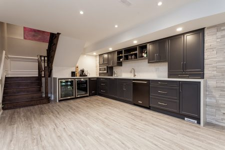 basement kitchen in grey